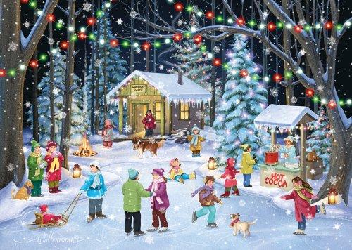 Woodland pattinatori-Biglietti di Natale con 15biglietti e 16buste