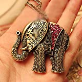 Fheaven Elephant Crystal Vintage Retro Long Necklace Jewellery Pendant Necklace