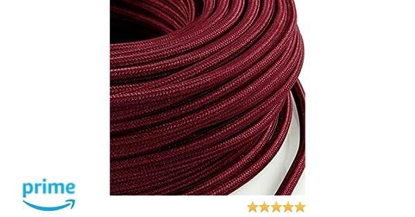 section 3/x 0,75/mm lampes Produit fabriqu/é en Italie. MeToo H03VV-F Design C/âble /électrique rond de style vintage gain/é de tissu rouge pour lustres