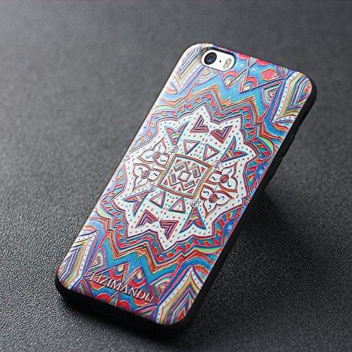 iPhone 6 hülle,iPhone 6s hülle,Lizimandu TPU 3D Handyhülle Muster Case Cover Für iphone6/6s(Blaue Blume/Blue Flower) Maya Totem