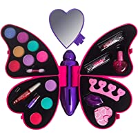 VikriDa Girl's All-in-One Cosmetic and Real Makeup Palette with Mirror, Pretend Play Toy Make Up Case Kit, Safety Tested…