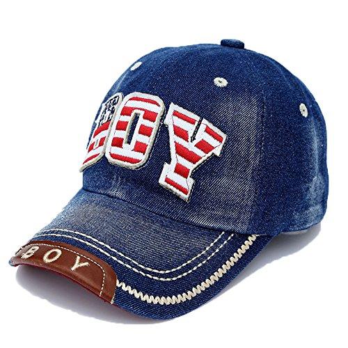 Baseballkappe Alphabet Stickerei Denim Hut Kappen für Jungen Mädchen, Dunkelblau (Schaumstoff-hut Verstellbare)