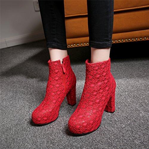 Short Plateau Schuhe Boots Blockabsatz Heel Mit High 9cm Und Stiefeletten Ye Absatz Ankle Damen Rote Elegant Winter Reißverschluss Herbst Ht6qZSw