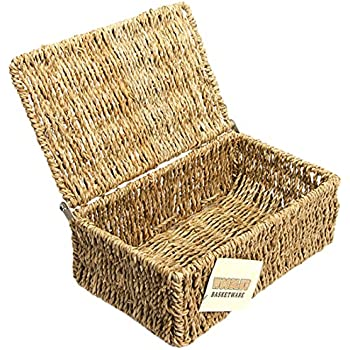 woodluv seagrass storage basket with small lid kitchen home. Black Bedroom Furniture Sets. Home Design Ideas