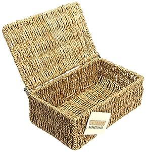 woodluv panier de rangement en jonc de mer avec petit couvercle cuisine maison. Black Bedroom Furniture Sets. Home Design Ideas