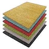 casa pura Teppich Luxury | Viele Größen | Flauschig, Modernes Shaggy/Hochflor Design | für Wohnzimmer, Schlafzimmer, Jugendzimmer (Gelb, 140x200 cm)