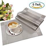 Meersee Platzdeckchen Rutschfest Hitzebeständige Tischsets schmutzabweisend Abwaschbar Platzsets PVC Platzmatten Silber, 6-er Set