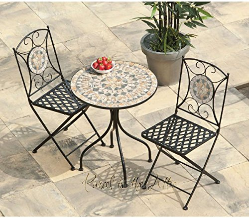 Turin Mosaic Bistro Set - Table & 2 Folding Chairs - Cast Iron - High Quality (ref. 943)