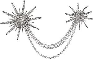 OULII , spilla con strass e catenina, a forma di stella, da donna (argentata)