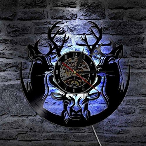 Unbekannt ANMY Fröhlich Weihnachten Hirsch Wald Tiere Vinyl Uhr Led Licht Jahrgang Handarbeit Geschenk Dekor Silhouette Jahrgang Modern Lampe -