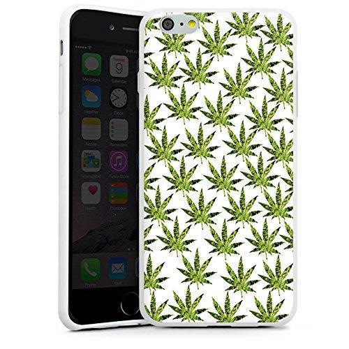Apple iPhone X Silikon Hülle Case Schutzhülle Hanfblatt Gras Weed Muster Silikon Case weiß