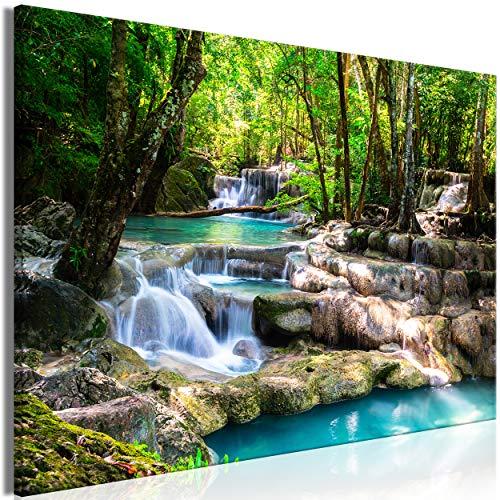 decomonkey | Mega XXXL Bilder Wasserfall | Wandbild Leinwand 170x85 cm Einteiliger XXL Kunstdruck zum aufhängen | Wald Natur Landschaft