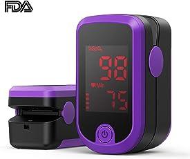 Pulsoximeter, Oximeter mit Pulsmesser mit Dual Richtungen rotierendem OLED Display Fingeroximeter für die Messung des Puls und der Sauerstoffsättigung am Finger, Lila