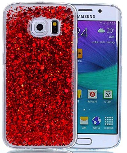 Samsung Galaxy S6 Edge Hülle,Hülle Galaxy S6 Edge Glitzer Hülle,Roreikes Liquid Quicksand Bling Glitzer Fließen Flüssig Handyhülle Luxus Schön Ultradünne Transparente Gel Schutzhülle Rückschale Liquid Weiche Silikon Durchsichtige Stoßdämpfung Kristall Schale Bumper Etui Case Cover