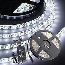 CroLED Striscia LED Bobina 5M 5050SMD 300LED DC 12V Luce Bianco Impermeabile Adesivo con 5A Alimentatore Standard Europeo