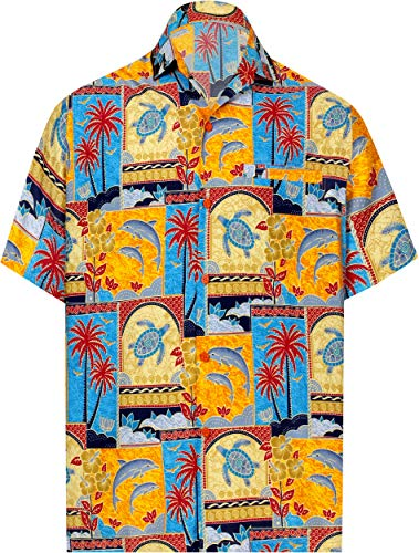 Palmen Mens Hawaiian Aloha-shirt (LA LEELA männer Hawaiihemd Kurzarm Button Down Kragen Fronttasche Beach Strand Hemd Urlaub Casual Herren XXL-Brustumfang (in cms):137-149 Orange_W275)