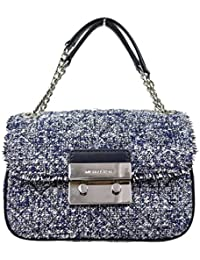 MICHAEL Michael Kors Michael Kors Women's Sloan Boucle Tweed Quilted Small Shoulder Bag Admial Navy