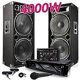 Pack Sonorisation Complet 2 Enceintes PRO 4000W MAX215 + MICRO + Table de Mixage DJ21 USB + Ampli MyDJ AX3000