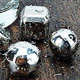 8pcs Cubos De Hielo Piedras Vino Forma de Bola Y Pinzas Reutilizable Whisky Acero Inoxidable