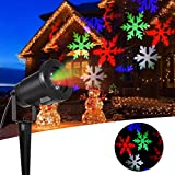 Greenclick Christmas Projector Light Colorful LED Snowflakes Waterproof White Lamp Sparkling Landscape for Outdoor Decor Stage Irradiation Holiday Home Decoration Wall Motion Decoration lighting