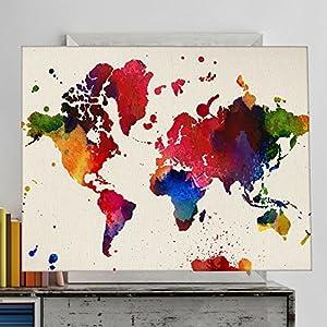Lámina para enmarcar MAPAMUNDI. MAPA DEL MUNDO. Poster con imágenes del mundo de estilo acuarela. Lámina mapas. Decoración de hogar. Papel 250 gramos alta calidad