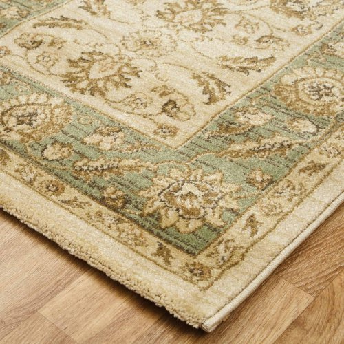 Traditional Ziegler Oriental Frisee Washed Antique Effect Rug, Cream/Light Green - 160x230cms (5ft x 8ft)