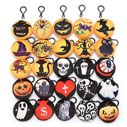 king do way 25 pcs Weinachten Plüsch Spielzeug Kissen Mini Emoticon Keychain Anhänger Handtasche Party Dekoration Kinder Partei (25 Halloween) (Ausdrucke Halloween Dekoration)