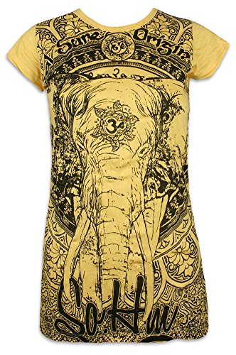 Sure Clothing Sure Damen T-Shirt Ganesha OM Symbol Elefanten-Gott Indien Hinduismus Religion Goa (Gelb S)