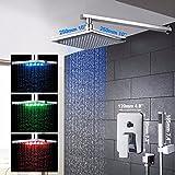 Galvanik Retro Wasserhahn gute Qualität Bestes Preis LED Chrom Bad Dusche Mischer Hahn eingestellt ist, um einen Griff Wasserfall Regendusche Set Armaturen mit 10
