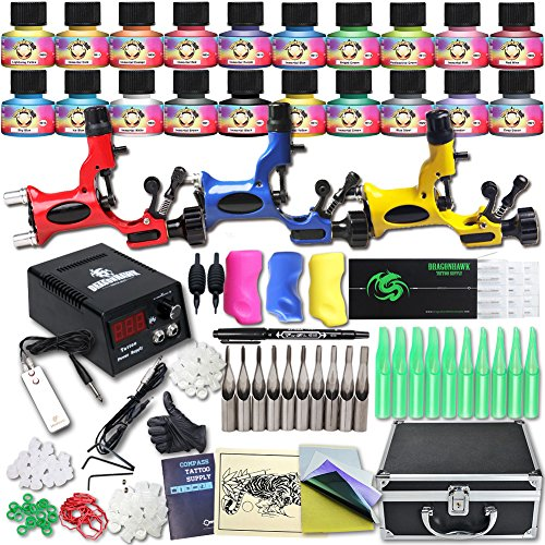 Tätowierung Great Tattoo Kits 3 Rotary Machine New Design Power box and tattoo supplu DIY-227 (Kit Tätowierung)
