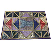 Mogul Interior Indian Sari Tapestry Blue Vintage Patchwork Wall Hanging Throw