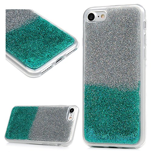 MAXFE.CO Schutzhülle Tasche Case für iPhone 7/iPhone 8 TPU Silikon Cover Glitzern Etui Protective Schale Bumper Silber + Grün Silber + Grün