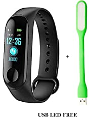 NR MART M3 Smart Band Fitness Tracker Watch Heart Rate with Activity Tracker Waterproof Body Functions Like Steps Counter, Calorie Counter, Blood Pressure, Heart Rate Monitor LED Touchscreen