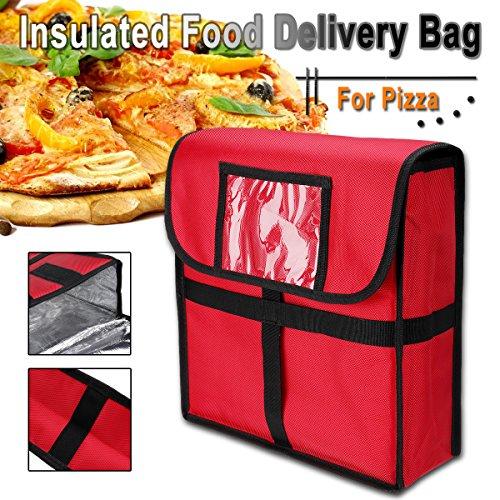 Janolia Bolsa Térmica, Bolsa de Pizza Aislado, 33x11x34 cm Material Exterior de Tela Oxford y Inferior de Papel de Aluminio, Gran Bolsa Impermeable de Entrega de Alimentos Rojo