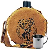 Laken Canadiense 1 Liter Feldflaschen Trinkflasche Canteen Leder + Edelstahlbecher 0,3L