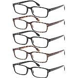 5 Pack Reading Glasses Blue Light Blocking with Spring Hinge, Reading for Women Men Anti Glae Filter Lightweight Eyeglasses