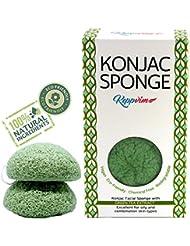 Éponge faciale Konjac avec Extrait de Thé Vert (lot de 2) ; un Soin Doux et Naturel pour une Peau sensible et Sèche. La Poudre de thé vert matcha Konjac 100% naturelle, végétalienne, durable et biodégradable pour la peau exigeante