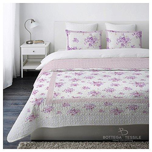 Trapuntino Copriletto Matrimoniale Boutis ELEGANCE Fantasia Flowers Colore Lilla,misura 250 X 250 cm - 2 piazze