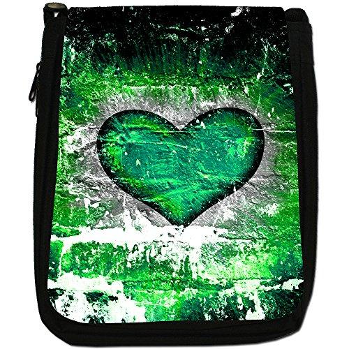 Cuore su muro di mattoni-Borsa a tracolla in tela, colore: nero, taglia: M Nero (Green Grunge Heart)