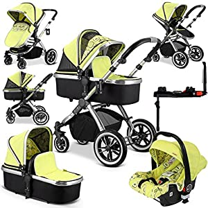 iVogue Pear Luxury 3-in-1 Pram Stroller Travel System Carseat ISOFIX Base Mu The adjustable 5-point safety harness has comfortable shoulder pads, The sturdy frame has a wider seat which results in a more comfortable ride for your child The stroller can be easily folded, smaller and more portable; the adjustable backrest angle can be seated or lying down, as well as a large shopping basket and caster The aluminum alloy triangle frame is safer, safer and more secure. 7