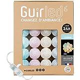 Guirlande lumineuse boules coton LED USB - Veilleuse bébé 2h - Adaptateur secteur double USB 2A inclus - 3 intensités - 24 bo