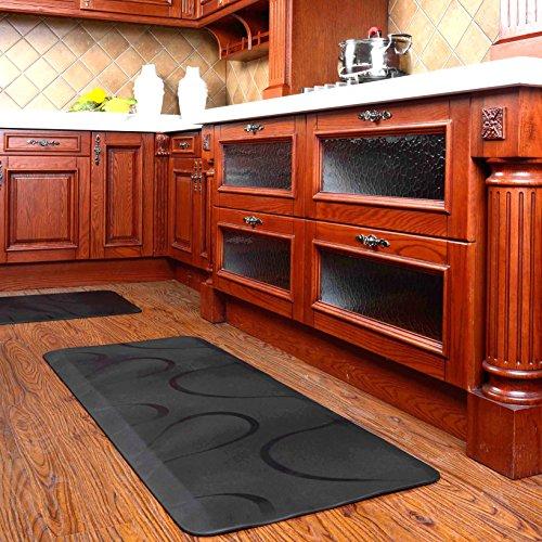 CHASTEP Tapis anti-fatigue au metre tapis caoutchouc antidérapant anti douleur tapis de couloir, cuisine, usine 60 x 152cm - noir,cerise,marron (black)