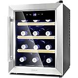Cecotec Cave à vin Grand Sommelier 1200 CoolWood. Capacité pour 12 Bouteilles, Étagères en Bois et Technologie Montionless, 33 L de Capacité, Verre avec Double Isolation, Foction Autodefrost.