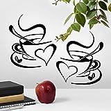 2 tazas de pared de arte de la cocina pegatinas de vinilo adhesivo de frases de amor etiqueta de pub decoración de café té de