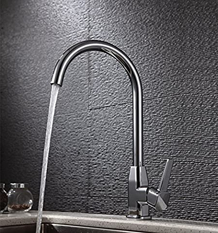 Modern vertical copper faucet by bending single handle single hole mixing water basin/kitchen/sink faucet