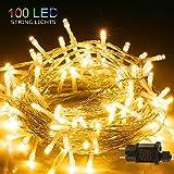 BIGHOUSE LED Lichterkette für Weihnachten, BIGHOUSE 100 LEDs 10M Lichterkette Außen mit Stecker Warmweiß, Wasserdichte IP44 für Party, Hochzeit, Geburtstag, Terrasse, Innen/Außen Dekoration