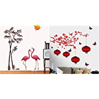 Decals Design 'Flamingos and Bamboo at Sunset' Wall Sticker (PVC Vinyl, 90 cm x 60 cm, Multicolour) & 6980 StickersKart Wall Stickers Chinese Lamps in RED Double Sheet (Wall Covering Area: Combo