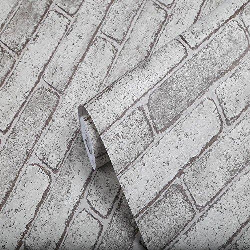 MEXITAL Dekorative Selbstklebend Tapete Grau Wandpapier Ziegel Selbstklebende Wandaufkleber Wohnkultur Wandtattoo Wandaufkleber Sticker 45 * 500 cm - Ziegel Tapete Grau