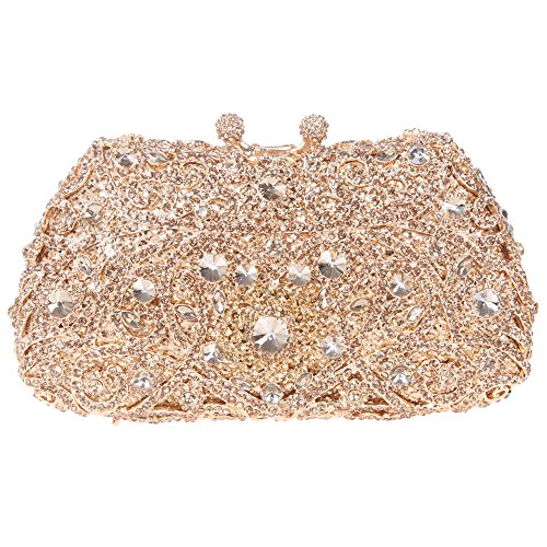 Bonjanvye Mini Kisslock Purse with Studded Rhinestone Evening Bags for Girls Smoky Yellow