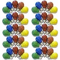 50er Set Glühbirnen farbig gemischt 25W E27 Rot Gelb Grün Blau Orange